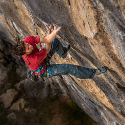 Stefano Ghisolfi making the first ascent of Lapsus at Andonno, the first 9b sports climb in Italy
