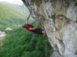 Dino Lagni carrying out the first repeat of SuperAle 8c+ at Covolo, Italy