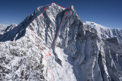 Nilgiri South 6869m, Himalaya and the line climbed by Hansjörg Auer, Alexander Blümel and Gerhard Fiegl