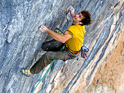 Chris Sharma during the first ascent of Pachamama 9a+ at Oliana, Spain.