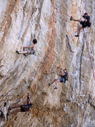 Adam Ondra weaving his way through the paparazzi during the first ascent of Los Revolucionarios 9a at Kalymnos.