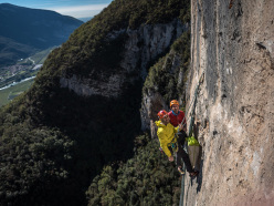 Nicola Tondini and Nicola Sartori at the 5th belay of Destini Incrociati, Castel Presina, Monte Cimo