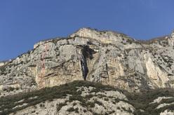 Tra Nuvole e Sogni (8a, 7b obb., S3+. Nicola Tondini, Andrea Simonini. First free ascent Nicola Tondini 10/2013) Sass Mesdì, Monte Cimo