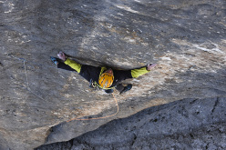 Alessandro Rudatis climbing pitch 6 (8b of )Bruderliebe, Marmolada, Dolomites on 12-13 August 2015