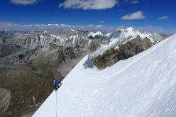 Mick Fowler high up on Gave Ding 6571m in Nepal (ED+ 1600m, 7 days), climbed with Paul Ramsden
