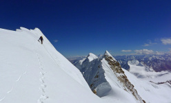 Mick Fowler close to the summit of Gave Ding 6571m in Nepal (ED+ 1600m, 7 days), climbed with Paul Ramsden