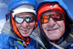 Mick Fowler (left) and Paul Ramsden during the first ascent of Gave Ding 6571m in Nepal (ED+ 1600m, 7 days)