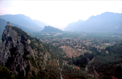 Arco di Trento and its castle, seen from the top of the Colodri rock face