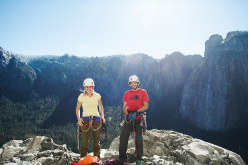 Barbara Zangerl and Jacopo Larcher on the summit of El Capitan after having successfully climbed El Nino in Yosemite (5.13c, 800m, Alexander Huber, Thomas Huber, 1998)