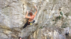 Gabriele Moroni climbing his new route Sid Lives 9a at Nago, Arco