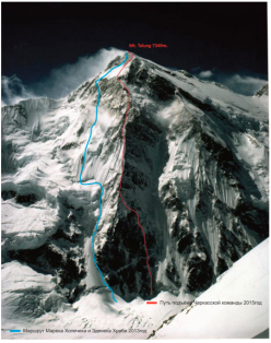 The line taken by Urkrainian mountaineers Nikita Balabanov and Mikhail Fomin during the first ascent of the NNW Spur of Talung (7349m), Himalaya, Nepal, from 18 - 25 October 2015