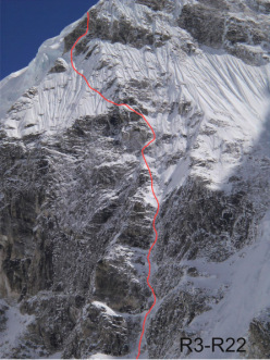 Urkrainian mountaineers Nikita Balabanov and Mikhail Fomin making the first ascent of the NNW Spur of Talung (7349m), Himalaya, Nepal, from 18 - 25 October 2015