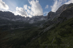 During the first ascent of Zamba (370m, 7a max, 6b/c oblig, Gianluca Beliamoli, Andrea Simonini), Val D'Ambiez, Brenta Dolomites