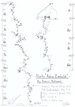 Zamba (370m, 7a max, 6b/c obblig, Gianluca Beliamoli, Andrea Simonini), Val D'Ambiez, Dolomiti di Brenta