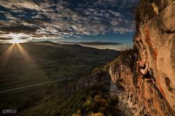 Mina Markovič climbing Histerija 8c+ at Misja Pec, Slovenia
