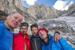 Expedition Kishtwar 2015 members: Marko Prezelj (SLO), Manu Pellissier (FRA), Urban Novak (SLO), Hayden Kennedy (USA) in front of the Cerro Kishtwar's East Face