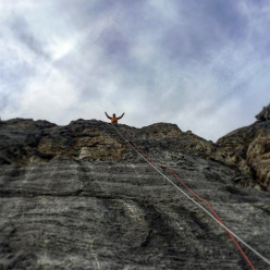 Sonnie Trotter making the first free ascent of Blue Jeans Direct on Mount Yamnuska in Canada