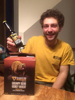 Greg Boswell celebrating after surviving the bear attack