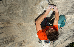 Jacopo Larcher making the first trad ascent of Lapoterapia, Osso (VB)