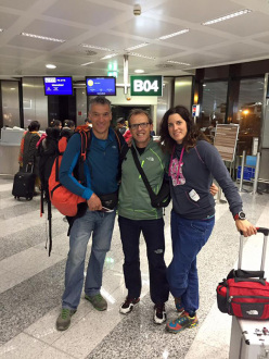 Hansjörg Lunger, Simone Moro and Tamara Lunger in departure before attempting the first winter ascent of Nanga Parbat