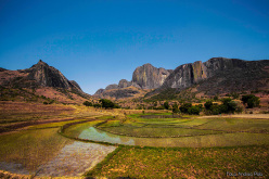Madagascar, rice fields and the Tsaranoro massif