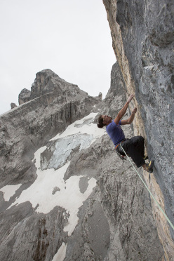 Alex Luger making the first ascent of The Gift (8c, 350m), Drusenfluh, Rätikon, Austria