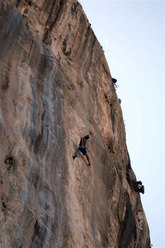 Manolo on-sighting Rock and Blues 8b+ at Kalymnos