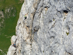 During the first ascent of Gigi La Trottola (IX-, 450m, Alessandro Baù, Claudio Migliorini, Giovanni Zaccaria 2015)
