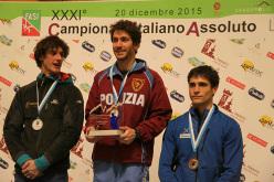 Campionato Italiano Lead 2015: da sx a dx, Francesco Vettorata, Stefano Ghisolfi e Marcello Bombardi