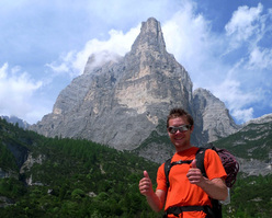 Andrej Grmovsek and the massive Torre Trieste, Civetta, Dolomites