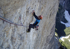 Luka Krajnc on the first 7b+ pitch of Donnafugata, Torre Trieste, Civetta, Dolomites