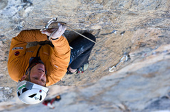 Stephan Siegrist making the first free ascent of Magic Mushroom 7c+,  Eiger