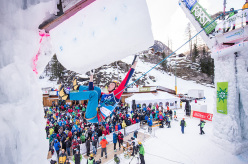 During the Ice Climbing World Cup 2015 at Rabenstein: