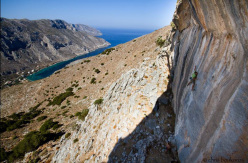 Simon Montmory climbing on Kalymnos, Greece