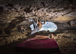Chris Sharma at Cova de Ocell making the first ascent of a boulder problem he has described as being a Catalan version of Witness the Fitness.