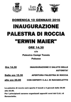 The new climbing wall named after Erwin Maier at Paluzza in Friuli