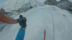 Florian Riegler climbing the NW Face of Ortler together with his brother Martin on 27/12/2015 during what is believed to be a new route, Trinitas (WI4, M5, 1000m).