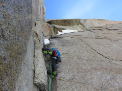Korra Pesce making the first repeat of Psycho Vertical, Torre Egger, Patagonia