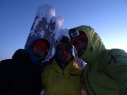 Corrado Korra Pesce, Roland Striemitzer and Tomas Aguilo on the summit of Torre Egger, Patagonia, after having climbed Psycho Vertical