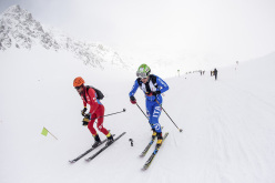 Kilian Jornet Burgada and Michele Boscacci during the first stage of the Ski Mountaineering World Cup 2016 at Font Blanca, Andorra. Individual race.
