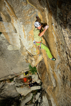 Rolando Larcher making the first free ascent of Know Yourself? E76c or 8a trad, Torri di Aimonin, Valle dell'Orco