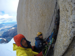 Matteo Della Bordella and David Bacci on the Ragni route, Fitz Roy, Patagonia