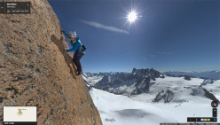 Catherine Destivelle climbing up the smooth granite south face of Aiguille du Midi