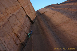 Chad Climbing Expedition 2015: Alessandro Lucchi climbing the dream pitch on