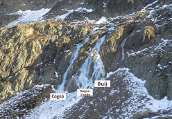 The icefalls in vallone di Collalunga: Cognà, Bagna Caoda and Buij