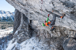 Tom Ballard climbing A Line Above the Sky D15, Tomorrow's World, Dolomites