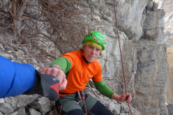British climber Tom Ballard after the first free ascent of A Line Above the Sky D15, Tomorrow's World, Dolomites