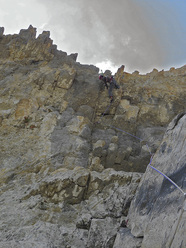Josune Bereziartu and Rikar Otegui making the first free ascent of El Castillo de los Sacristanes in Spain's Ordesa National Park