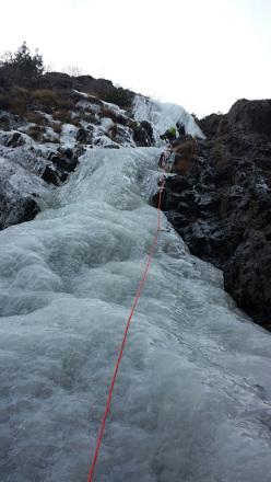 Ascending Couloir del Cimino (I/3+4, 700m, Cristian Candiotto, Armando Ligari) in Valle della Pietra, Val Gerola, Italy