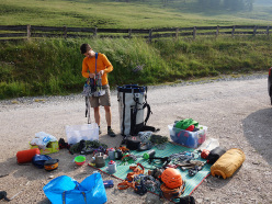 Sorting out all the gear before the climb